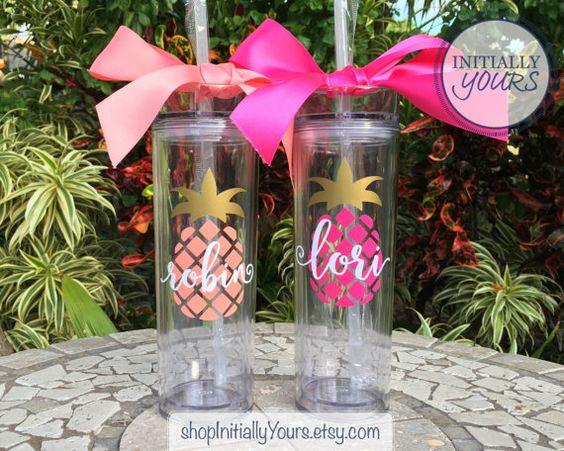Personalized Pineapple Tumbler, Skinny Acrylic Tumbler, Monogram Pineapple Cup, Personalized Gift