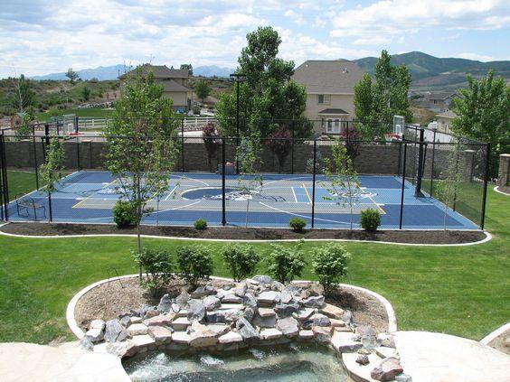 Backyard basketball court basketball court and basketball for Sports courts for backyards