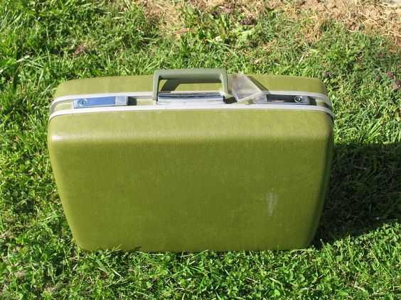 For cards?    Vintage Suitcase Green Luggage Royal Traveller by AuntSistersPicks. $10.00 USD, via Etsy.