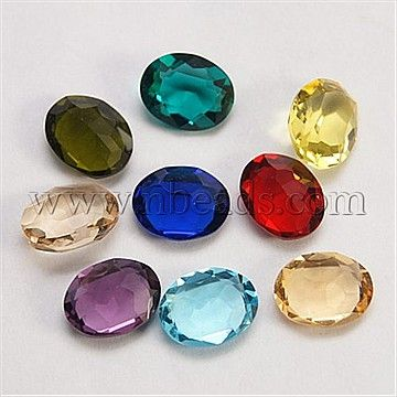 Fine Piezo Glass Cabochons, Faceted, Oval, Mixed Color, 10x8x4mm
