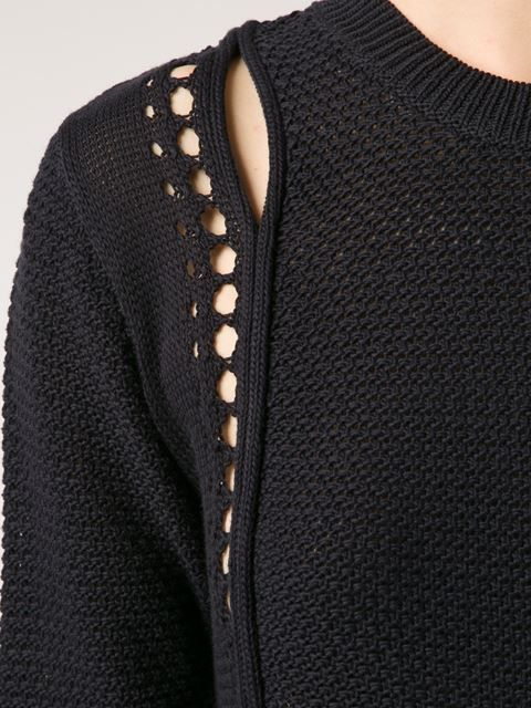 Black sweater shoulder detail; contemporary knitwear design // 3.1 Phillip Lim: