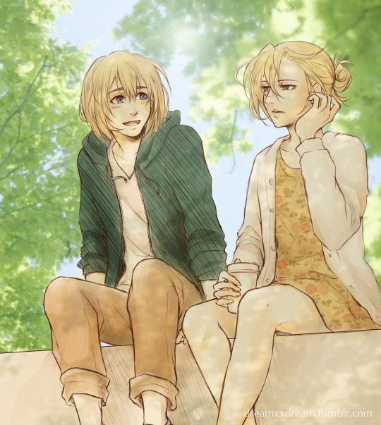 Annie & Armin------ I ship these two more than Eren x Mikasa and Levi x Hanji: