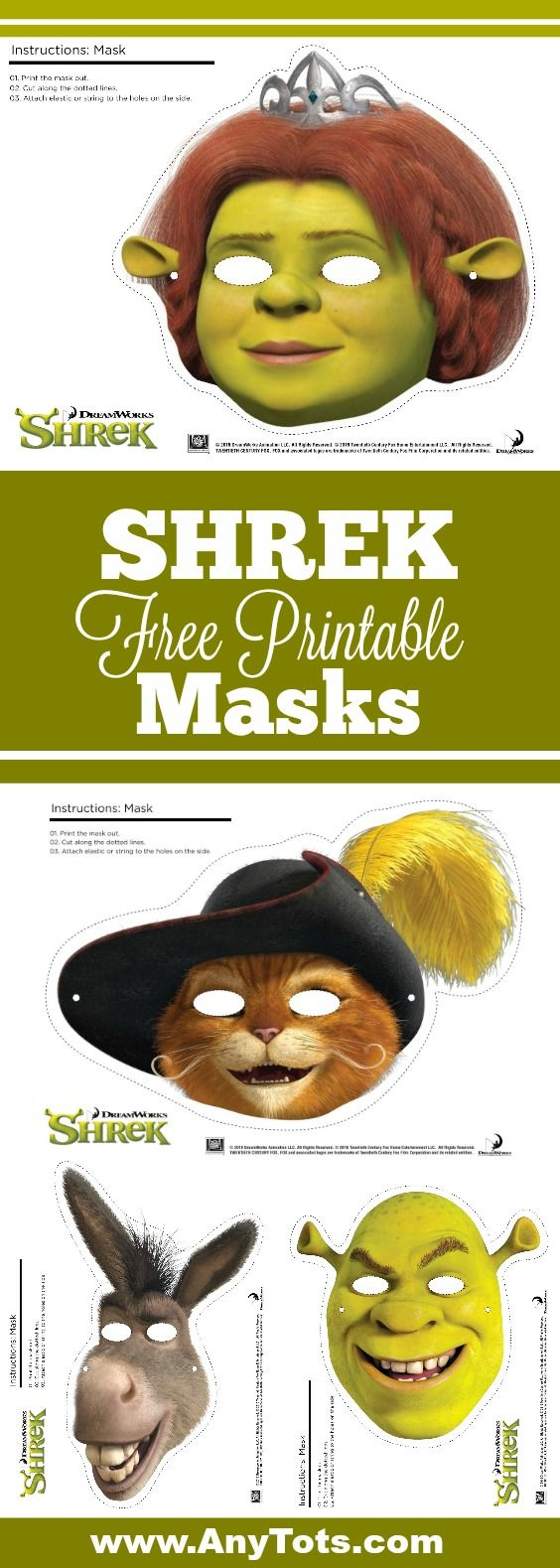 Halloween masks to print off at home! Choose from Princess Fiona, Shrek, Donkey or Puss in boots? Free printables!