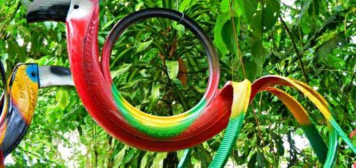 reciclagem-artesanal-de-pneus Como cortar pneus para fazer artesanato