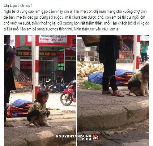 Rớt nước mắt trước cảnh em bé ôm hôn chú chó nhỏ trước khi bị đem bán