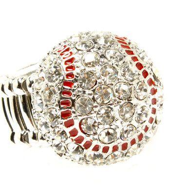 Baseball crystal stetch ring