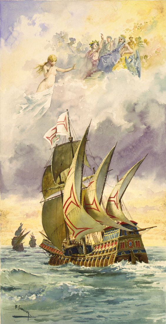 """""""Os Lusíadas"""" Luís Vaz de Camões — Ilustração da nau de Vasco da Gama com os deuses nas nuvens por Ernesto Casanova (1880)"""