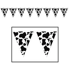 """Cow Print Pennant Banner 10"""" x 12' from Windy City Novelties $2.90"""