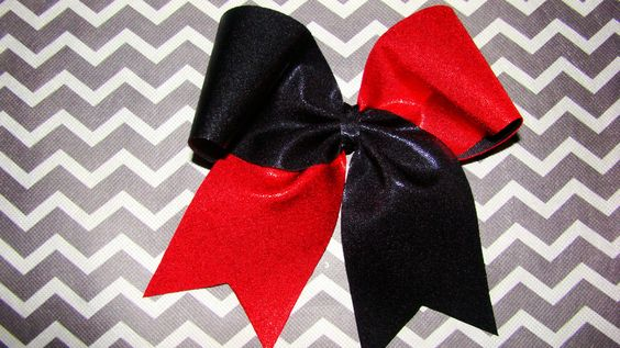 Black and Red Mystic Criss Cross Cheer Bow by isparklethat on Etsy https://www.etsy.com/listing/156258203/black-and-red-mystic-criss-cross-cheer