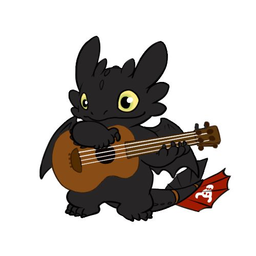 Sometimes all you need is toothless strumming a guitar to brighten your day