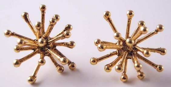 MikiandNora antique gold jacks earrings