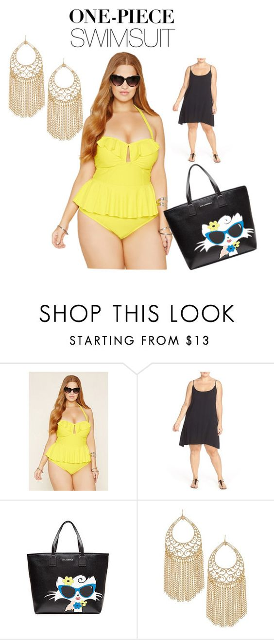 """""""Untitled #484"""" by george-isaacs ❤ liked on Polyvore featuring Forever 21, ELAN, Karl Lagerfeld, Free Press and onepieceswimsuit"""