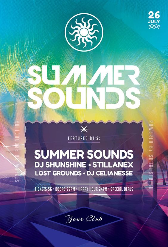 Summer Sounds Flyer by styleWish (Download PSD Template)