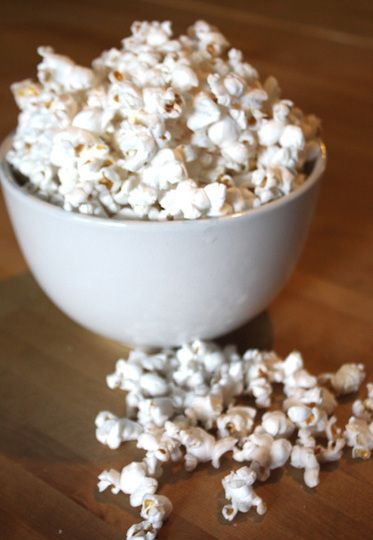 Bacon fat popcorn! When I make this, I don't strain the fat, but leave the bacon pieces in there. Sometimes I even fry up a piece extra crispy so I can crumble it over the popcorn.