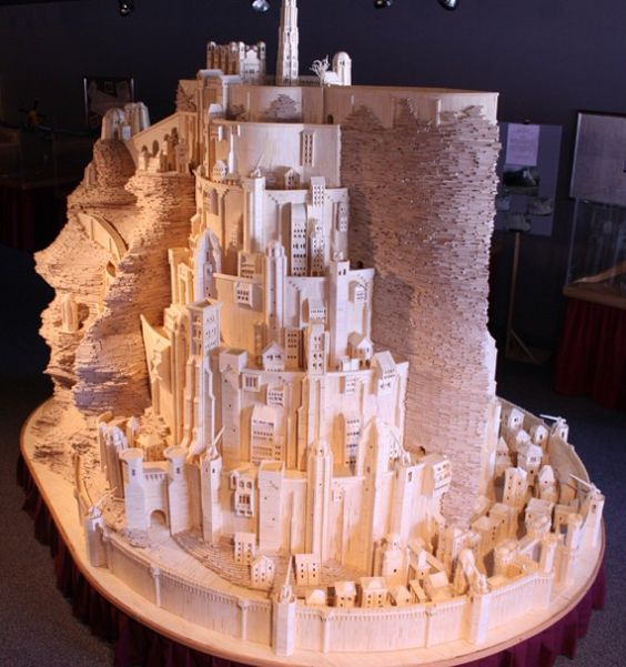 A model of the city of Minas Trith from Lord Of The Rings, built over two years out of matchsticks. Crazy.
