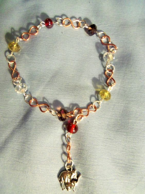 Silver and Copper Charm Ankle Bracelet