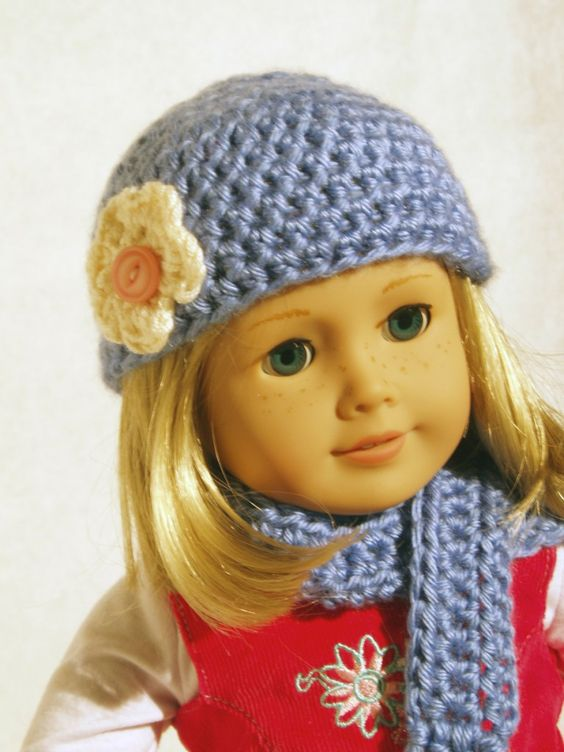 More Darling Doll Crochet Hats, Scarf American girl ...
