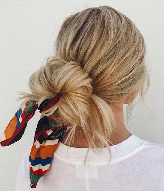 Cute messy hair bun hairstyle with scarf