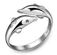 Dubbele dolfijn ring. verstelbaar www.th-sieraden.nl Gratis verzenden