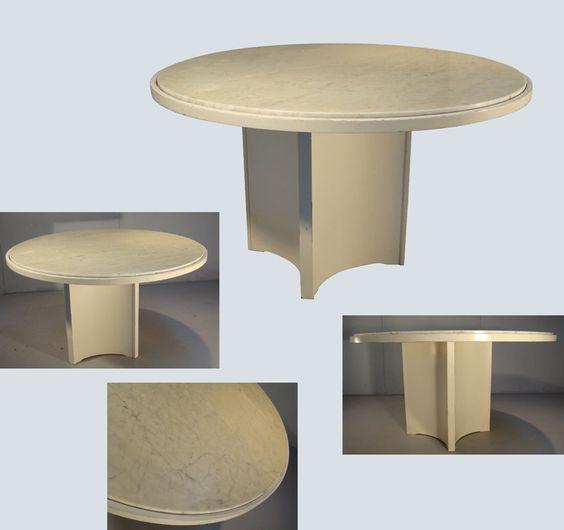 grand table de salle a manger en contreplaque laque plateau de marbre encastre