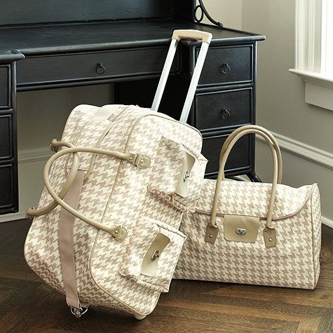 Traveling in style starts with your luggage. Some luggage is just not built for serious travelers. Our coordinating Houndstooth Rolling Duffel and Tote are ready to go wherever and whenever you are.