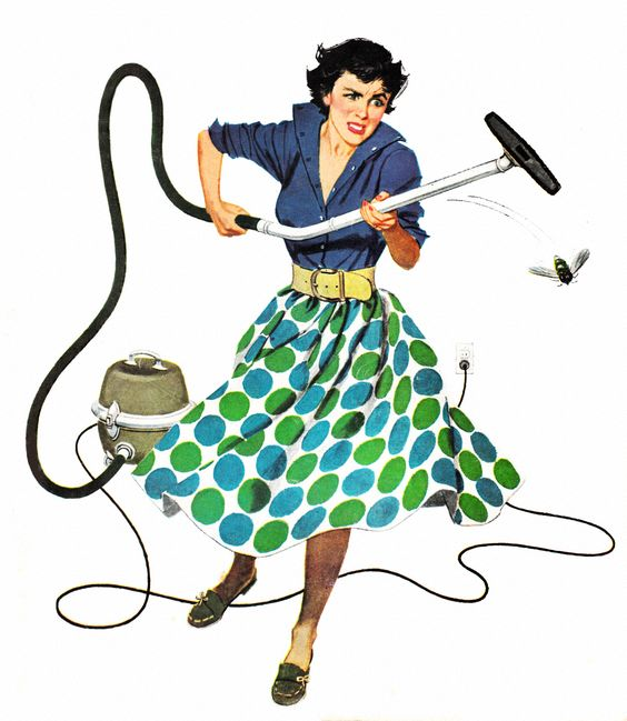 Housecleaning in the 50's | #Vintage #vacuuming | From Roger Wilkerson, The Suburban Legend on Tumblr: