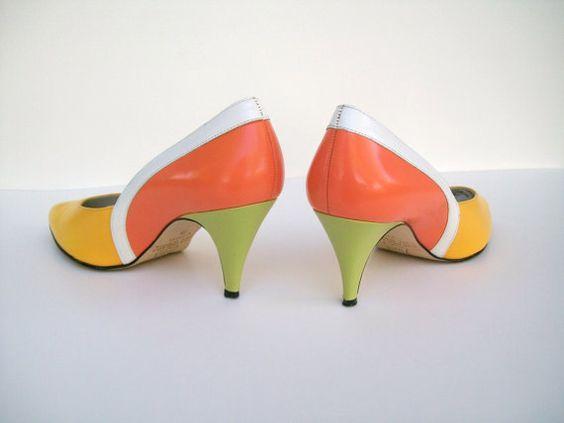 Citrus Color Block Heels from jacklom3 on etsy.