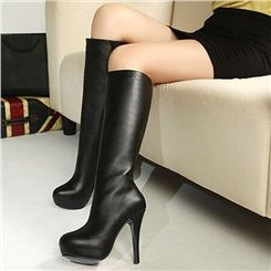 Shoespie Black Solid Color Knee High Boots