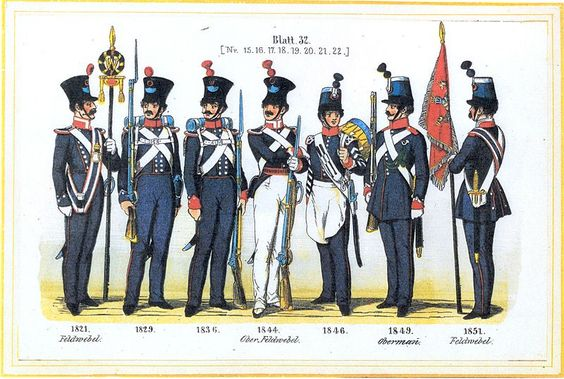 Plate 32: Several infantry regiments. NCOs, drummer & standard bearer., 1821-1851 by Leo Ignaz von Stadlinger - Geschichte des württembergischen Kriegswesens - Uniforms of the troops of Württemberg