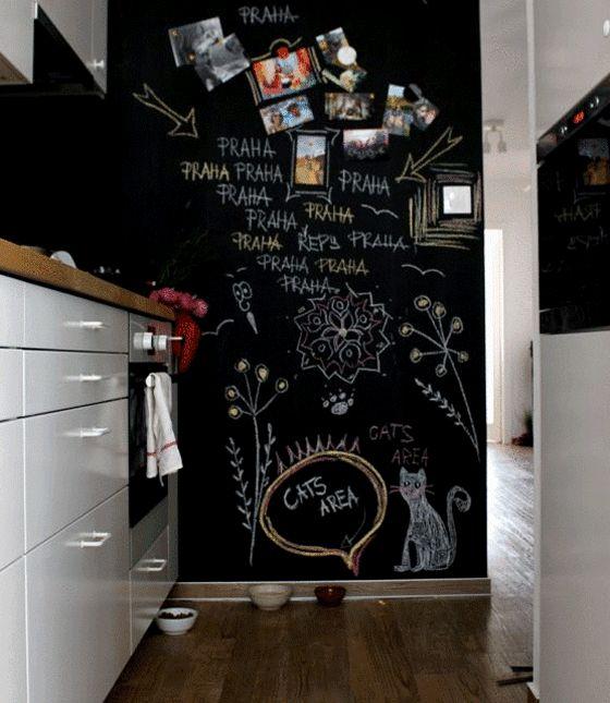 Utiliza pintura de pizarra magn tica para hacer garabatos - Pizarra de pared ikea ...