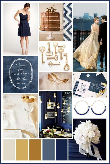 Chic and modern navy gets a glam glint with the addition of gold. I like these colors for a wedding.