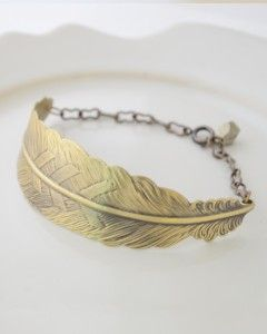 Brass feather bracelet with pyrite chunk...Olive Yew Jewels