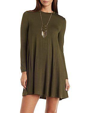 Long Sleeve Trapeze Shift Dress