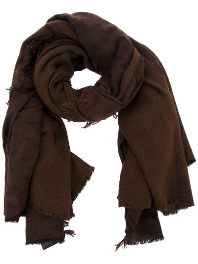 Brown cotton blend scarf from Claudio Cutuli featuring a woven paisley design and fringing to the ends.