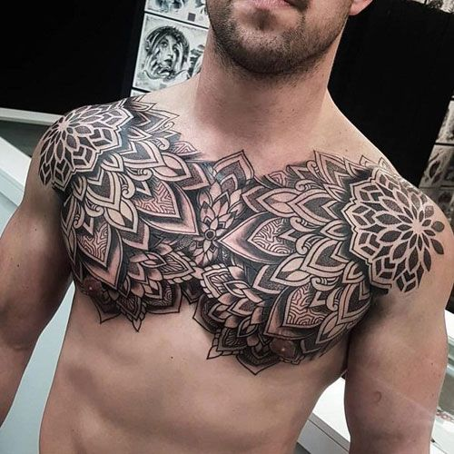 101 Best Chest Tattoos For Men Cool Ideas Designs 2020 Guide Cool Chest Tattoos Chest Tattoo Men Mandala Chest Tattoo