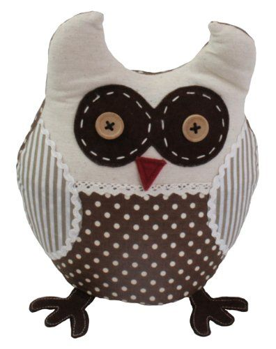 JVL Polka Dot Stripe Design Weighted Novelty Ozzy Owl Animal Fabric Door Stop, Brown