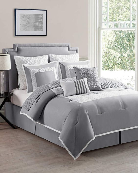 58 Grey And White Bedroom Ideas On A Budget Comforter Sets Bed Comforters Twin Comforter Sets