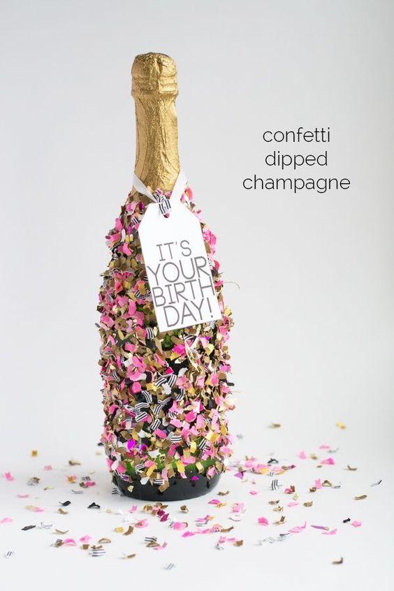 Confetti dipped champagne pinterest geburtstag geburt for Diy geschenke fa r beste freundin