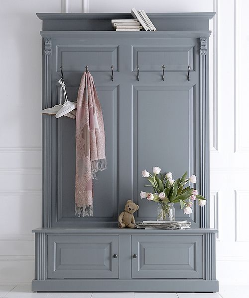 French panelled hall stand £450 | Give your hallway an instant makeover with our new collection of hall stands - and finally a place for coats, shoes, keys and all the usual hallway clutter. This version has a seat with a cupboard for shoes underneath. It can be painted to order in one of twelve carefully chosen colours.