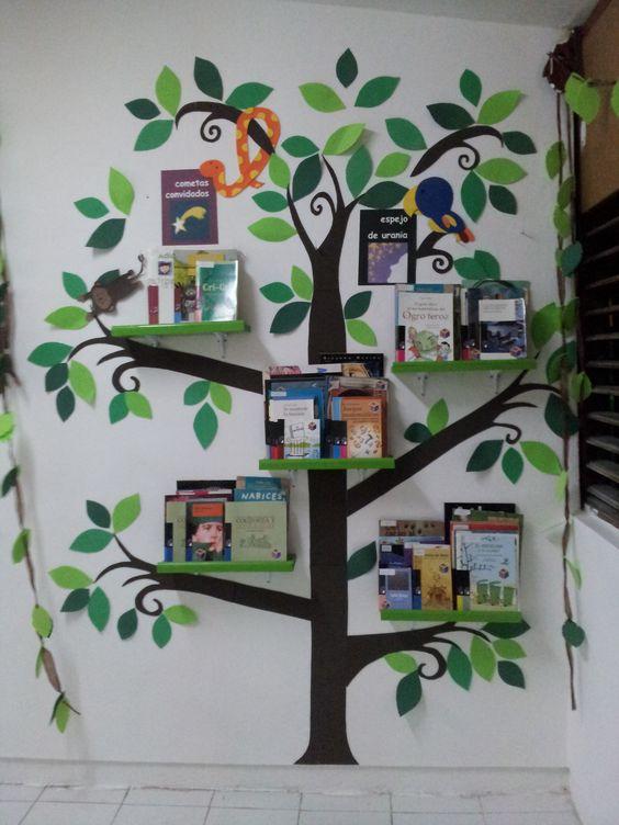 Biblioteca de jungla libros selva librero bookshelf jungle animals animals hojas leaves shelves kids infantil niños