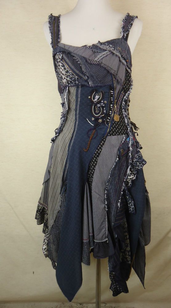 Ausgefallenes JUJU & CHRISTINE Upcycling Träger Kleid, 100% Baumwolle blau