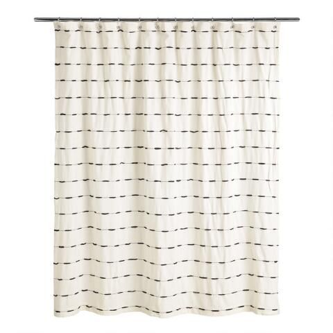 Ivory And Black Woven Stripe Taylor Shower Curtain Striped