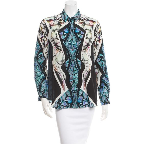 Peter Pilotto Printed Silk Top ($165) ❤ liked on Polyvore featuring tops, pattern prints, long sleeve tops, colorful tops, silk top, multi color tops and peter pilotto tops