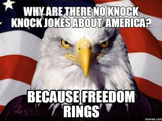 Why are there no knock knock jokes about America? Because freedom rings - American history memes - Life throws you curves. Being prepared is everything. Are you DrumCorpsReady.com                                                                                                                                                     More