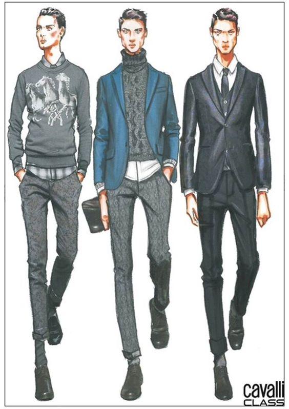 Cavalli Class Sketch - fashion illustration men Un staring to think for mens design.
