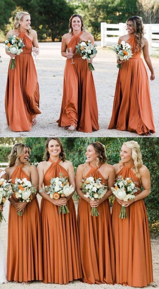 Dark Orange Halter Long Bridesmaid Dresses For Wedding From Dressydances In 2020 Fall Bridesmaid Dresses Orange Bridesmaid Dresses Wedding Bridesmaid Dresses