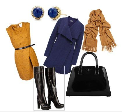 синее пальто горчичное платье