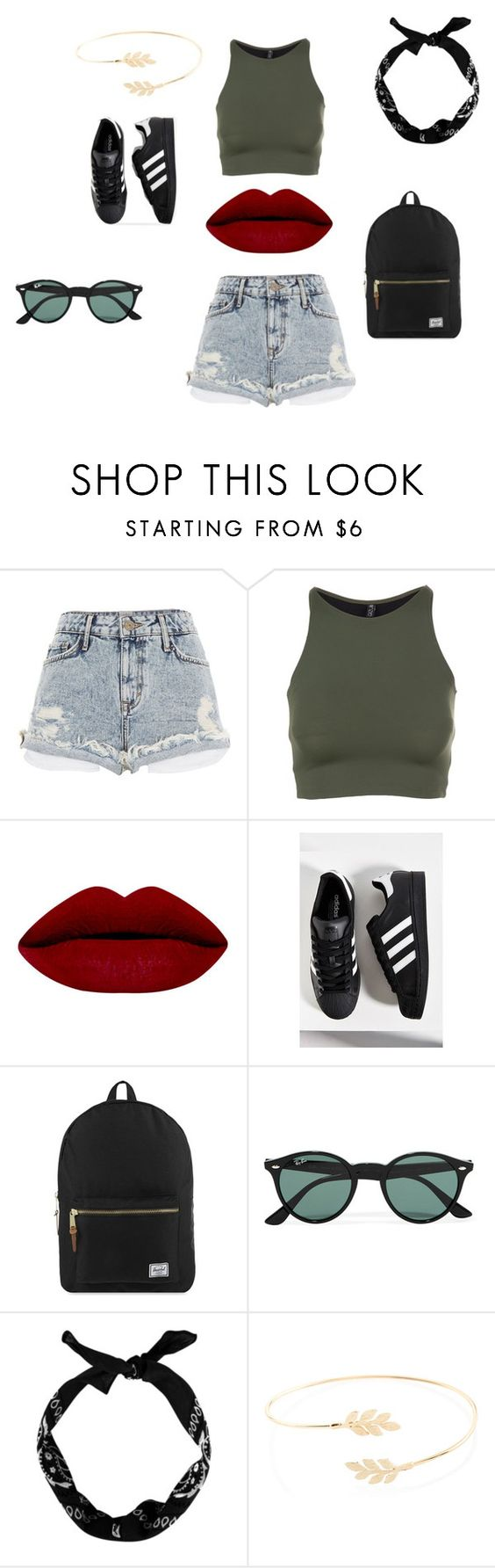 """summer"" by flowi-1 on Polyvore featuring Mode, River Island, Onzie, adidas, Herschel Supply Co., Ray-Ban, Accessorize, women's clothing, women und female"