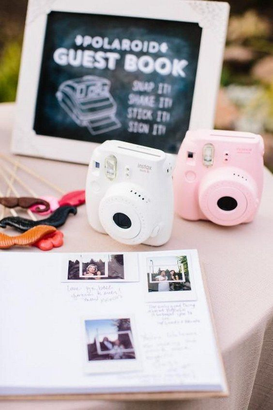 Polaroid wedding guest book / http://www.deerpearlflowers.com/creative-polaroid-wedding-ideas/: