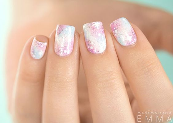 Pastel Pink Galaxy Nail Design. See the tutorial